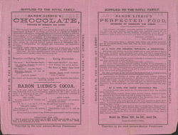 Advert For Baron Liebig's Cocoa reverse